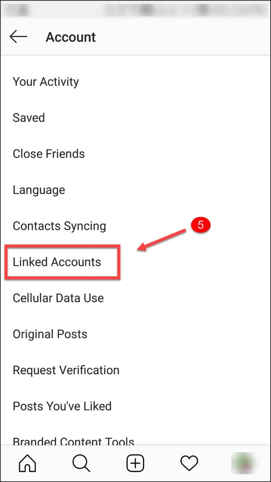 Instagram Settings Accounts section