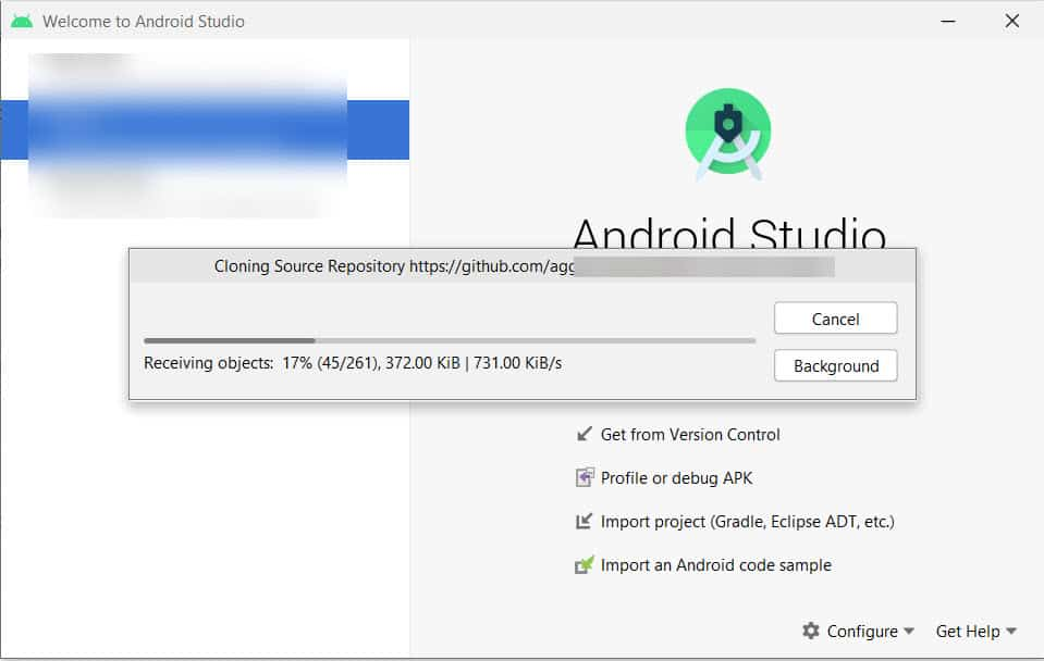 Cloning progress of Android project from github to Android studio